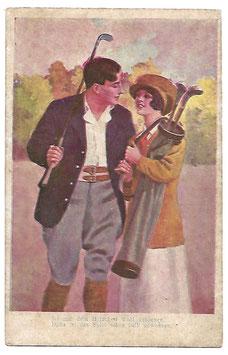 Alte Künstler Postkarte GOLFSPIELER MIT GOLFSCHLÄGERN