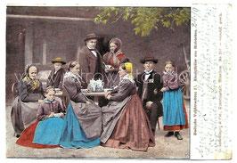 Alte Postkarte BADISCHE VOLKSTRACHTEN Kinzigthäler aus Hofstetten, 1901