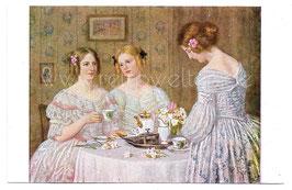 Alte Künstler Postkarte  KAFFEEGESELLSCHAFT signiert Carl Priem - um 1910