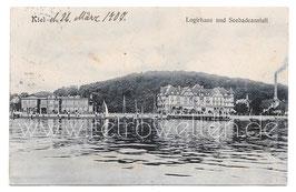 Alte Fotografie Postkarte KIEL Logirhaus und Seebadeanstalt 1907