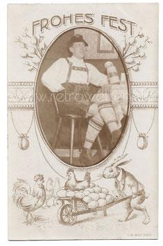 Alte Foto Postkarte OSTERN - FROHES FEST Mann mit Lederhose und Bierkrug