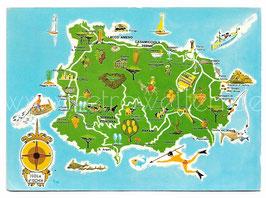 Alte Postkarte ISOLA D' ISCHIA Landkarte der Insel mit Sehenswürdigkeiten, Italien 1968