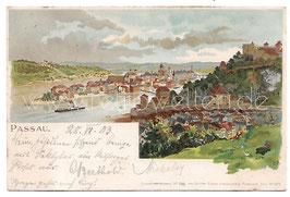 Alte Lithografie Künstler Postkarte PASSAU Gesamtansicht 1903