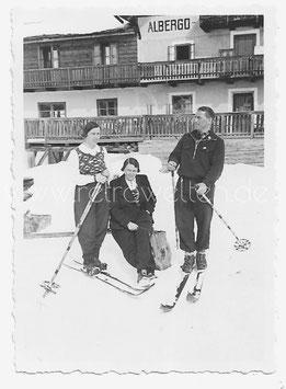 Alte Fotografie SKIFAHRER IN AVELENGO, SÜDTIROL 1937