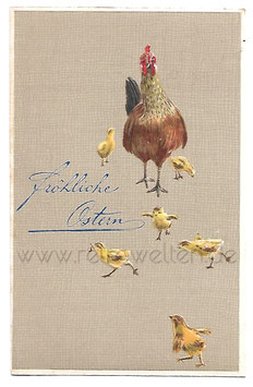 Alte Lithografie Postkarte FRÖHLICHE OSTERN Henne mit 6 Küken, 1907