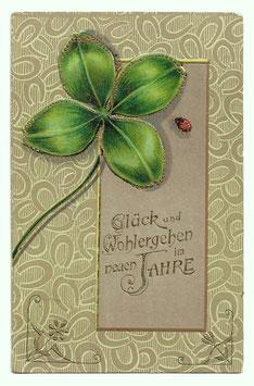 """Alte Jugendstil Postkarte Neujahr """"GLÜCK UND WOHLERGEHEN IM NEUEN JAHRE"""" Glücksklee, Hufeisen, Marienkäfer"""