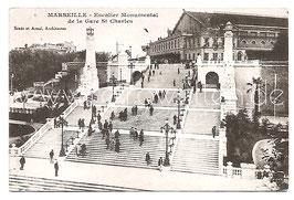 Alte Postkarte MARSEILLE - Escalier Monumental de la Gare St. Charles, 1928