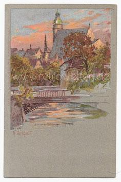 Alte Künstler Postkarte LEIPZIG Blick auf die Thomaskirche, signiert Raffaele Carloforti