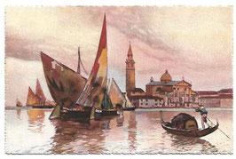 Alte Künstler Postkarte VENEDIG VENEZIA  Isola di San Giorgio, Gondoliere und Segelschiffe in der Lagune