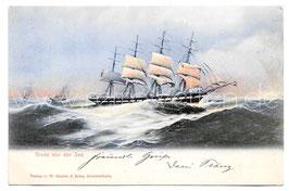 Alte Künstler Postkarte GRUß VON DER SEE, SEGELSCHIFF, 1903