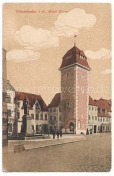 Alte Postkarte CRIMMITSCHAU Roter Turm 1915