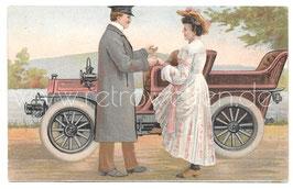 Alte Postkarte PAAR MIT OLDTIMER AUTOMOBIL um 1910