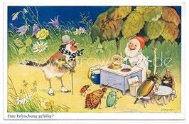 Alte Künstler Postkarte EINE ERFRISCHUNG GEFÄLLIG? Zwerg als Eisverkäufer, vermenschlichte Insekten und Vogel, signiert Fritz Baumgarten