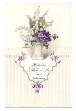 Alte Lithographie Postkarte HERZLICHEN GLÜCKWUNSCH ZUM GEBURTSTAGE  Vase mit Veilchen und Maiglöckchen