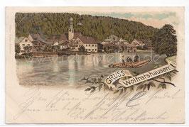 Alte Lithografie Postkarte GRUSS AUS WOLFRATSHAUSEN 1901