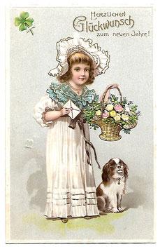 """Alte Lithografie Postkarte Neujahr """"HERZLICHEN GLÜCKWUNSCH ZUM NEUEN JAHRE""""  Mädchen mit Blumenkorb, Brief und Hund"""