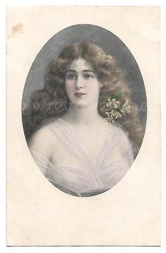 Alte Künstler Postkarte SCHÖNE FRAU MIT BLUMEN IM HAAR, 1912 M. M. Vienne - M. Munk, Nr 352