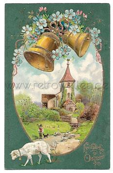 Alte Postkarte FRÖHLICHE OSTERN Landschaft mit Kirche, Hirte, Lamm, Glocken 1905
