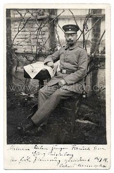 Alte Fotografie Postkarte SOLDAT IN UNIFORM - 1918