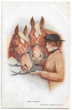 Alte Künstler Postkarte WELL EARNED  Reiterin gibt ihren Pferden Zuckerwürfel, signiert R. O. Wallace 1914