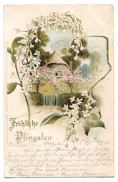 Alte Sonnenschein Postkarte FRÖHLICHE PFINGSTEN Landschaft mit Sonne und Blumen 1901
