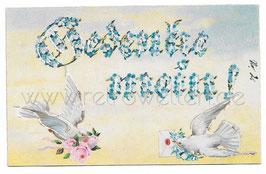 Alte Künstler Lithografie Postkarte GEDENKE MEIN weiße Tauben bringen einen Brief und Rosen
