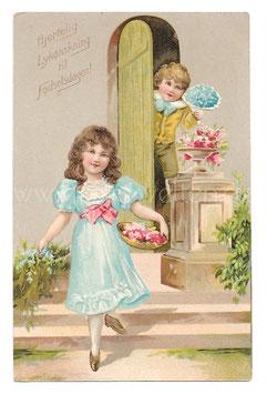 Alte Lithographie Postkarte HERZLICHEN GLÜCKWUNSCH ZUM GEBURTSTAGE  Kinder mit Blumen