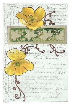 Alte Jugendstil Postkarte GELBE ANEMONEN
