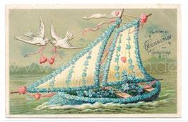 Alte Lithographie Postkarte HERZLICHEN GLÜCKWUNSCH ZUM GEBURTSTAGE  Segelschiff, Vergissmeinnicht, Tauben und Herzen