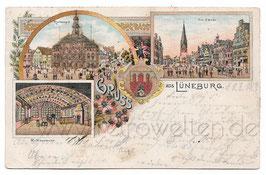 Alte Lithographie Postkarte mit Glitzer GRUSS AUS LÜNEBURG Rathaus, Am Sande, Rathauslaube - 1901