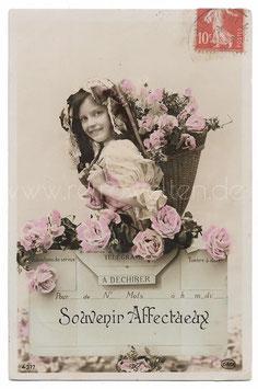 Alte Fotografie Postkarte SOUVENIR AFFECTUEUX Mädchen mit Blumenkorb, 1910
