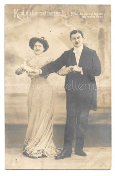 Alte Foto Postkarte  KIND DU KANNST TANZEN !  elegantes Paar tanzt