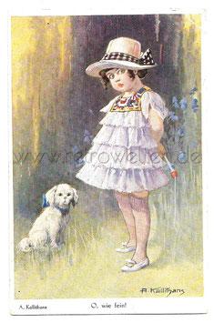 Alte Künstler Postkarte O WIE FEIN! elegantes Mädchen und weißer Hund, signiert A. Kallithans
