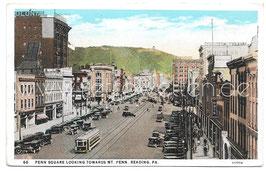 Alte Postkarte READING PA. Penn Square looking towards Mt. Penn, 1928