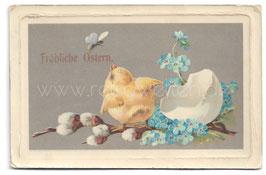 Alte Lithographie Postkarte Ostern FRÖHLICHE OSTERN Küken ist aus dem Ei geschlüpft, 1912