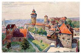 Alte Künstler Postkarte NÜRNBERG Blick vom fünfeckigen Turm auf die Königliche Burg, signiert Wilhelm Tebje