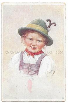 Alte Künstler Postkarte PORTRAIT EINES MÄDCHENS IN TRACHT, signiert Karl Feiertag 1919
