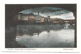 Alte Künstler Postkarte FIRENZE - PONTE VECCHIO E LUNGARNO ACCIAIOLI, Italien um 1920