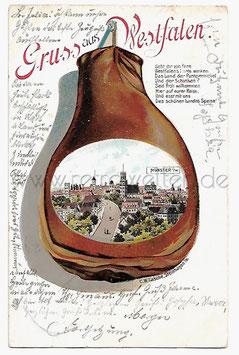 Alte Lithografie Postkarte GRUSS AUS WESTFALEN - MÜNSTER Schinken mit Ansicht der Stadt, 1901