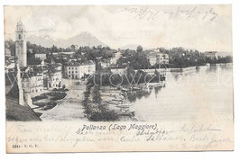Alte Foto Postkarte LAGO MAGGIORE PALLANZA Blick auf den Ort mit See