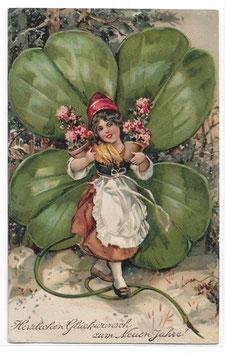 """Alte Lithografie Postkarte """"HERZLICHEN GLÜCKWUNSCH ZUM NEUEN JAHRE!""""  Zwergin, Glücksklee, Blumen, 1910"""