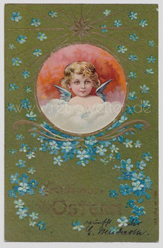 Alte Lithographie Postkarte FRÖHLICHE OSTERN Engel über den Wolken, Vergissmeinnicht, 1904