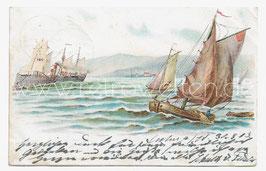 Alte Künstler Postkarte SEGELSCHIFFE AUF DEM MEER IN KÜSTENNAHE, 1903