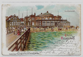 Alte Lithografie Postkarte GRUSS AUS HELGOLAND Konversationshaus,  1905