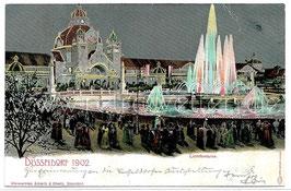 Alte Postkarte DÜSSELDORF INDUSTRIE-UND GEWERBEAUSSTELLUNG 1902, Lichtfontäne