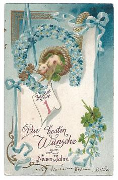"""Alte Lithografie Postkarte Neujahr """"DIE BESTEN WÜNSCHE ZUM NEUEN JAHRE""""  Schwein mit Glücksklee und Kalenderblatt springt aus einem Füllhorn"""