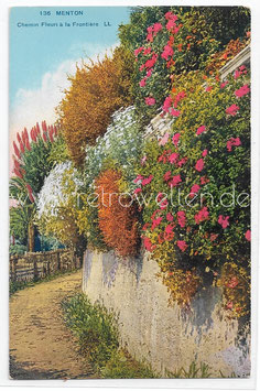 Alte Postkarte MENTON - Chemin fleuri à la Frontière, Frankreich 1928