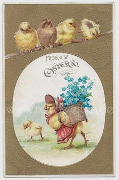Alte Lithographie Postkarte FRÖHLICHE OSTERN Küken, Henne trägt Korb mit Vergissmeinnicht 1905
