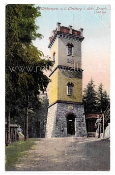 Alte Postkarte NEUSTÄDEL Köhlerturm auf dem Gleesberg im Sächsischen Erzgebirge  1927