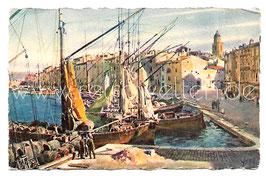 Alte Künstler Postkarte SAINT TROPEZ - Vue générale du port, Frankreich 1928
